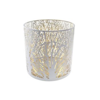 Cosy @ Home Bougeoir Blanc Rond Verre 25x25xh25 Bran