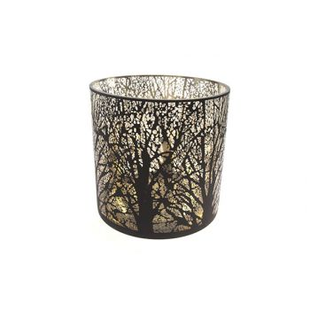 Cosy @ Home Bougeoir Noir Rond Verre 25x25xh25
