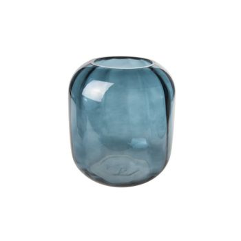 Cosy @ Home Vase Bleu Petrol Rond Verre 18x18xh20 Op