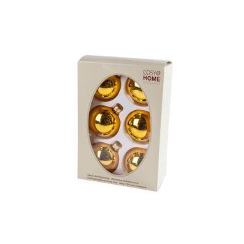 Cosy @ Home Boule Noel Set6 Ocre Sphere Verre D7 7x7