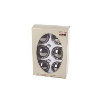 Cosy @ Home Boule Noel Set6 Taupe Sphere Verre D7 7x
