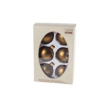 Cosy @ Home Boule Noel Set6 Laiton Sphere Verre D7 7