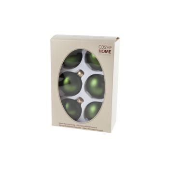 Cosy @ Home Boule Noel Set6 Vert Sphere Verre D7 7x7