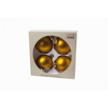Cosy @ Home Boule Noel Set4 Ocre Sphere Verre D8 8x8