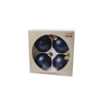 Cosy @ Home Boule Noel Set4 Bleu Royal Sphere Verre