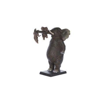 Cosy @ Home Elephant Avec Bebe Chocolat Polyresine 2