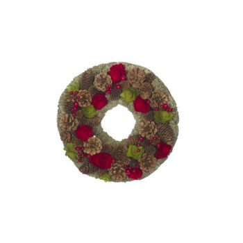 Cosy @ Home Couronne Rouge-vert Rond Bois 33x33xh8,5