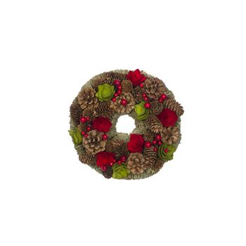 Cosy @ Home Couronne Rouge-vert Rond Bois 25x25xh8 P