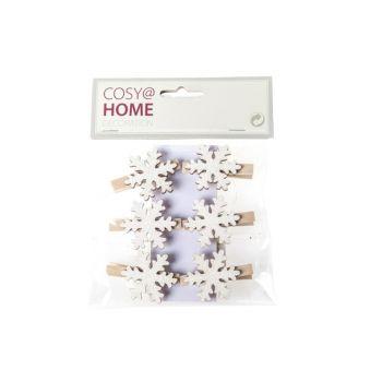Cosy @ Home Pince Flocon De Neige  Set6 Bois 18x14cm