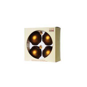 Cosy @ Home Boule Noel Set4 Laiton Sphere Verre D8 8