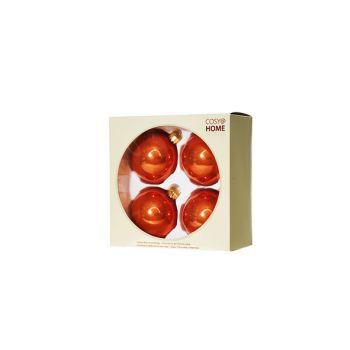 Cosy @ Home Boule Noel Set4 Rouille Sphere Verre D8