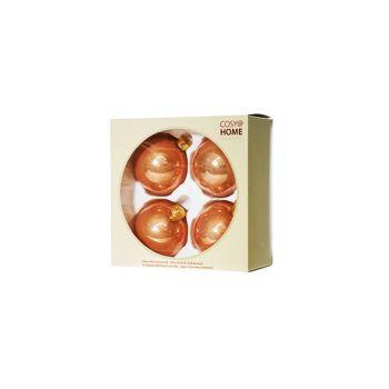 Cosy @ Home Boule Noel Set4 Rose Sphere Verre D8 8x8