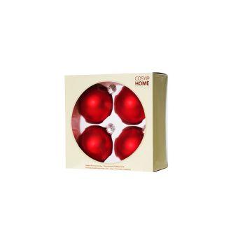 Cosy @ Home Boule Noel Set4 Rouge Sphere Verre D8 8x