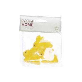 Cosy @ Home Lapin Set3 Flocked Jaune 4,5x2xh4cm