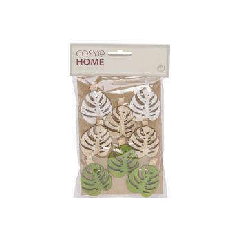 Cosy @ Home Clip Set8 Leaf 5cm Bois