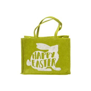 Cosy @ Home Cabas Happy Easter Rabbit Vert 25x19xh13