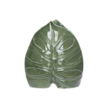 Cosy @ Home Vase Leaf Vert 19,5x9,3xh22cm Porcelaine