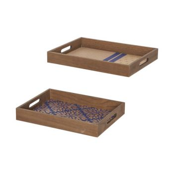 Cosy @ Home Plateau Set2 Gold Bleu 40x29,5xh5cm Rect