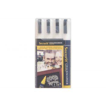 Securit Marqueur Craie Set4 Liquid Blanc 2-6mm