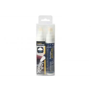 Securit Marqueur Craie Set2 Waterproof Blanc