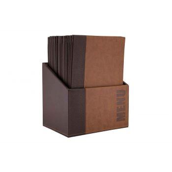 Securit Trendy 20x Support Menu In Box A4 Brun