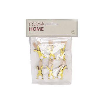 Cosy @ Home Clip Set6 Lapin Jaune 4,5cm Bois