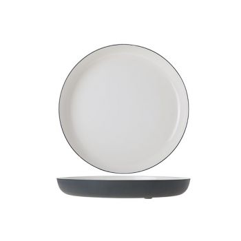 Cosy & Trendy Assiette Alu 25xh3cm Blanc Email Gris