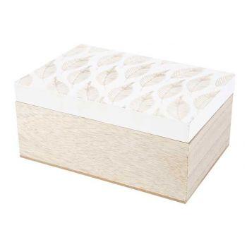 Cosy @ Home Boite Leafs White Naturel 18x12xh8,5cm B