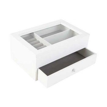 Cosy @ Home Boite A Bijoux Blanc 24x17xh10,5cm Bois