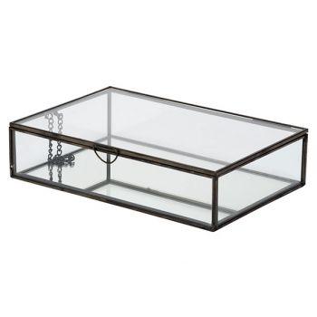Cosy @ Home Boite Glass Noir 28x18,8xh6,8cm Metal