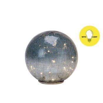 Cosy @ Home Boule Led Bleu Gris 20x20xh43cm Verre