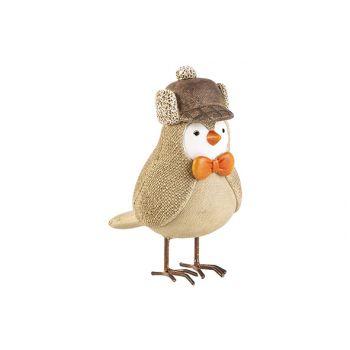 Cosy @ Home Oiseau Bow Beige 12x7xh12,5cm Resine