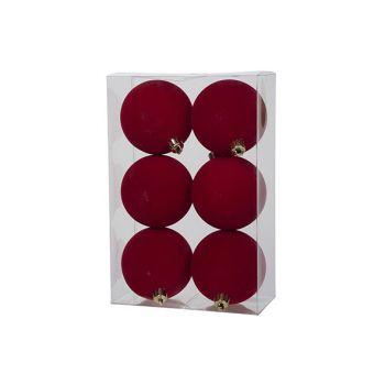 Cosy @ Home Boule Noel Set6 Velours Rouge D8cm Plast