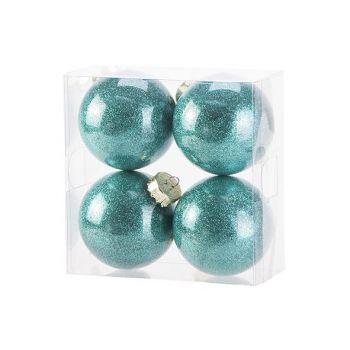 Cosy @ Home Boule Noel Set4 Twinkle Bright Vert D8cm