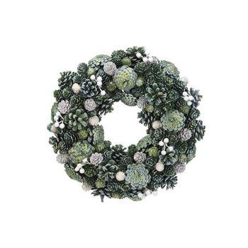 Cosy @ Home Couronne Glitter Pin Cone Vert 34x34xh8,