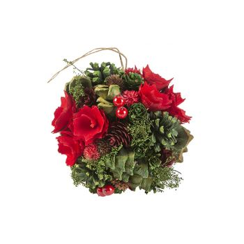 Cosy @ Home Boule A Suspendre Flower Pine Cone Rouge