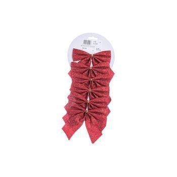 Cosy @ Home Noeuds Set6 Glitter  Rouge 11x11cm