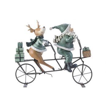 Cosy @ Home Pere Noel Velo Deer Gris-vert 24,8x9xh21