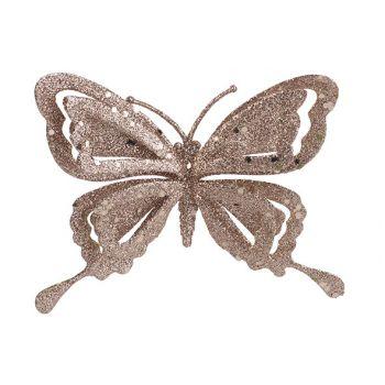 Cosy @ Home Clip Papillon Glitter Rose 14x2xh10cm Pl