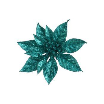 Cosy @ Home Poinsettia Clip Glitter Turquoise D15cm