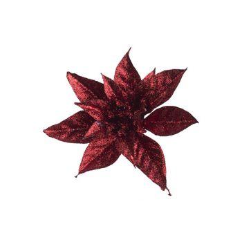 Cosy @ Home Poinsettia Clip Glitter Rouge D15cm Plas