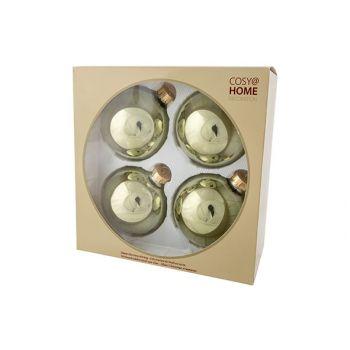 Cosy @ Home Boule Noel Set4 Shiny Vert Olive D10cm V