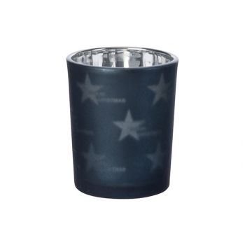 Cosy @ Home Bougeoir Verre Stars Nuit Bleu D6xh7cm V