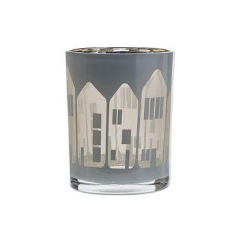 Cosy @ Home Bougeoir Houses Blanc 10x10xh12,5cm Verr