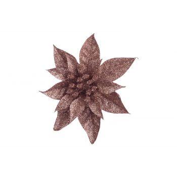 Cosy @ Home Poinsettia Clip Glitter Rose D15cm Plast