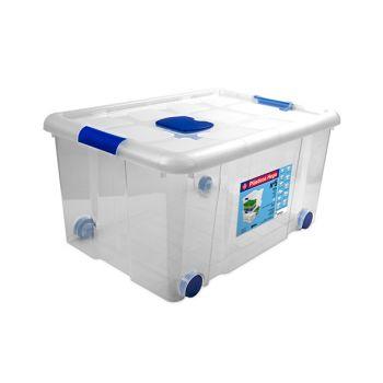 Hega Hogar Box De Rangement Sur Roues 57l Transpar