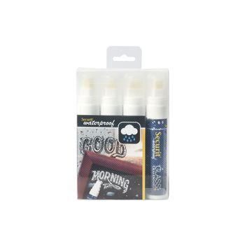 Securit Marquer Craie Set4 Waterproof Blanc