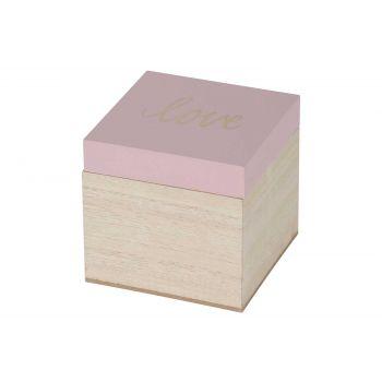 Cosy @ Home Boite Love Pink Naturel 10,1x10xh9,5cm B