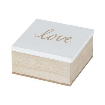 Cosy @ Home Boite Love White Naturel 10x10xh5cm Bois