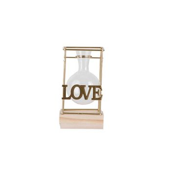 Cosy @ Home Vase Combi Wood Glass D5,7 H9,5 Cm Love
